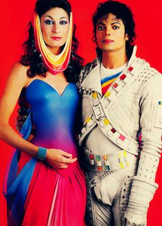 """Anjelica Huston and Michael Jackson in apromotionalphoto for""""Captain EO"""", 1986. °"""