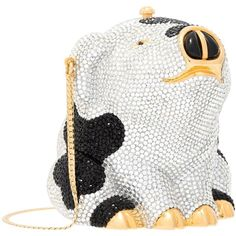Preowned Judith Leiber Full Bead Black & Silver Crystal Piebald Pig... ($1,850) ❤ liked on Polyvore featuring bags, handbags, clutches, multiple, beaded evening purse, crystal clutches, beaded coin purse, chain coin pouch and beaded change purse