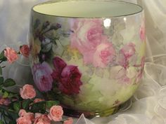 """BREATHTAKING ROSES"" Massive FRENCH JARDINIERE PLANTER POT Gorgeous Antique Limoges France Hand Painted Victorian Treasure Collector Piece Master Artistry Franz A. Bischoff Franz B. Aulich Circa 1900"