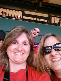 "Photobombed at the Cardinal's baseball game, May 16, 2013. I am on the left. I did not even know what a photobomb was, lol. Someone pointed it out to me later. This is taken with my S3. Not bad. This is my first post using the ""everypost"" app. So far, so good. Signed, Jeannine Carol"