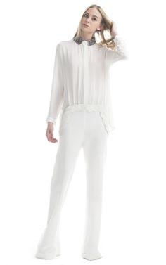 dying. Paula Raia Off White Crystal Collar Jumpsuit at Moda Operandi