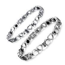 Bueno Para Elementos de Cuidado de La Salud Magnética Del Corazón Hueco amor par brazalete de Plata Titanium Bracelet & Bangles Para Las Mujeres JEW01307(China (Mainland))