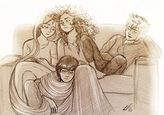 Rapunzel, Merida, Jack Frost, and Hiccup - Snoozing by AndytheLemon. <3