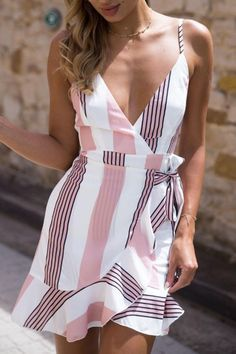 Deep V Neck Abstract Print Vertical Striped Casual Dresses – pretty casual dresses,casual summer dresses,fashion style dress,womens fashion casual dresses,nice dresses Spring Dresses Casual, Trendy Dresses, Modest Dresses, Dresses For Sale, Nice Dresses, Summer Outfits, Dresses With Sleeves, Dress Casual, Dress Summer