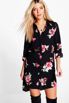 Shop boohoo's range of womens and mens clothing for the latest fashion trends you can totally do your thing in, with of new styles landing every day! Floral Print Shirt, Floral Prints, Maxi Styles, Color Negra, Online Shopping Clothes, Latest Fashion Trends, Cool Shirts, Floral Tops, Shirt Dress