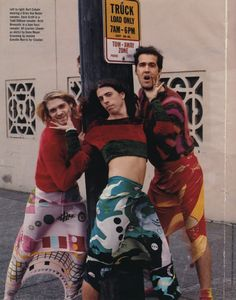 Reaching Nirvana - Mademoiselle Magazine November 1993 Kurt Cobain wearing a Dries Van Noten sweater. Dave Grohl in a Todd Oldham sweater. Krist Novoselic in a Joan Vass sweater. All scarves (shown as skirts) by Gene Meyer. Eddie Vedder, Dave Grohl, The Clash, Ringo Starr, Jimi Hendrix, Montage Of Heck, Music Is Life, My Music, Music Lyrics
