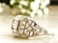 Art Deco Engagement Ring 0.77ctw European by LadyRoseVintageJewel