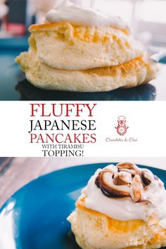 This fluffy Japanese Pancake recipe is the tasty breakfast that tastes good enough to be dessert! Aka. Souffle Pancakes! The default recipe is for one but can be scaled up! Woot! | Chocolates & Chai | Recipes #brunch #breakfast #japanesepancakes #fluffypancakes