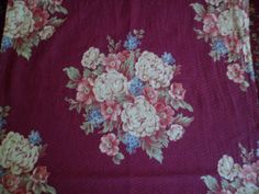 "Vintage 1930's/40's Bark Cloth Drape/Curtain Panel 33"" x 90"" L Burgundy Background Floral Medallions Diamond Textured by PleasantDaysVintage on Etsy"