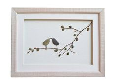 Pebble Art Love Birds Romantic gift for couple by PebbleArtDream Frames On Wall, Framed Wall Art, Art Frames, Pebble Pictures, Frame Crafts, Owl Crafts, Beach Stones, Stone Art, Wood Stone