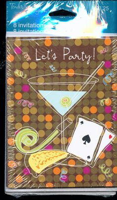 LET'S PARTY! Adult Party Invitations; Martini Glass, Playing Cards 8/8 - New Vintage Studio
