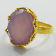 Cute design gold plated brass Rose Chalcedony gemstone beautiful women new ring #Handmade #Band #Gemstone #magicalcollection #Ring Jewelry #Rings #Gold Ring