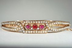 Antique French Seed Pearl and Ruby Bangle, 18k Gold c. 1870
