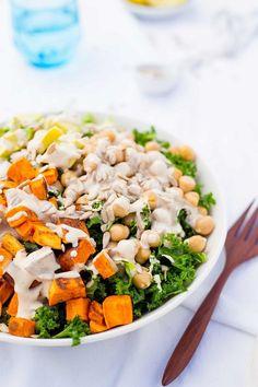 Kale Salad with Sweet Potato, Chickpeas & Avocado with Creamy Tahini Dressing