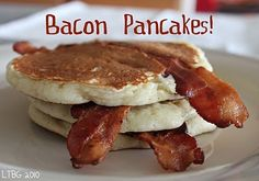 Made these for my husband's birthday - they were a huge hit! I recommend cutting the slices of bacon in half, made it easier to cook on the griddle!  Bacon Pancakes!!