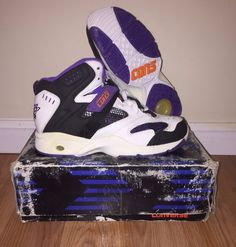 Converse Deadstock w/ Box Vintage CONS REACT Run N Slam Mid HighTop Sneakers  #Converse #BasketballShoes