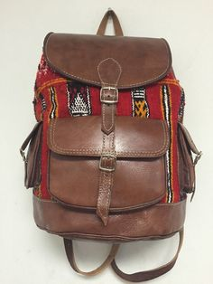 Moroccan Tribal Rugged Backpack in Kilim Handwoven Wool & Leather Travel Bag XL #Handmade #Backpack