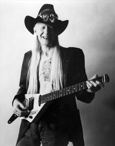 Texas blues stringer Johnny Winter and his Erlewine Lazer.
