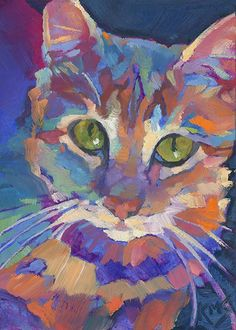 Good Morning, Sunshine ACEO original fauve impressionist oil painting of an orange tabby cat in the early morning sun • professional pet portrait by Louisiana artist KMSchmidt