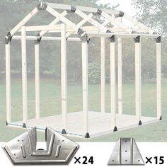 ジョイフル本田のネット通販です。 木材・建材 SPF材・荒材・角材 2×4 2x4basics シェッドキット ピークルーフ #19020 ツーバイフォーベーシックの品揃えを豊富に取り揃えています。こちらの商品は【特長】 ◆2×4材(防腐材や規格材など)を使用して、三角屋根タイプの小屋を簡単で製作できる金物のセットです。 ◆屋根部など、角度が必要な場所の施工には、通常であれば角度カットが出来る丸のこ等が必要になりますが、 このシェッドキット ピークルーフを使用すれば、2×4材を斜めカットせずに、簡単に屋根の角度で接合できます。 ◆2×4材(防腐材や規格材など)の長さを自在に変更できるので、お好きなサイズや形の小屋や物置をお作り頂けます。 【セット内容】 ◆コーナー用大金具(142×283mm)×24枚 ◆支柱固定金具(87×120mm)×15枚 ◆組立て説明書 【別途ご用意いただくもの】 ◆規格材 ◆防腐加工材 ◆合板 ◆その他、外壁材(野地板など)、ルーフィング、屋根材、ビス、塗料、各種工具などが必要になります。 【生産国】 アメリカ 【メーカー】 (輸入・販売元)ジョイフル本... Diy Storage Shed Plans, Outdoor Storage Sheds, Roof Design, House Design, 2x4 Basics, Gazebo Decorations, Tiny House Furniture, Custom Sheds, Backyard Office