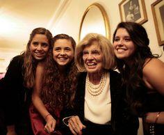 Eunice with granddaughters: Francesca, Carolina, Katherine; 2008