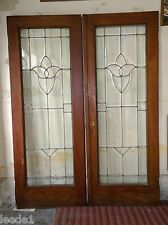 Pair Oak French Doors Tulip Design Beveled Glass Architectural Salvage Nice