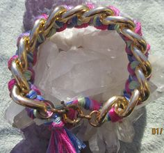 Bohemian Luxury Bracelet Boho Chic Braided woven Large chunky chunk chain Gold Bracelet multicolor pink green blue purple cuff bangle beach ibiza tassel