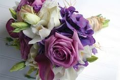 purple flowers from bouquet bridal
