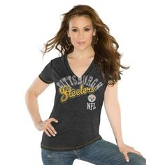 Touch by Alyssa Milano Pittsburgh Steelers Ladies Kickstart Slim Fit V-Neck T-Shirt - Black