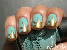 "So it just occurred to me how to do this. Paint your nails gold, then put a star sticker over the corner- where the ""explosion""is- then paint the uncovered part turquoise. Very cool"