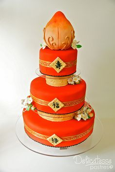 Chinese Longevity Cake--weird topper but I like the red and gold