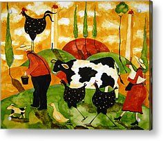 Hubbs Art Folk Prints Whimsical Farm Animals Italy Funny Tuscan Cow Chicken Rooster Dog Duck Family Acrylic Print by Debi Hubbs
