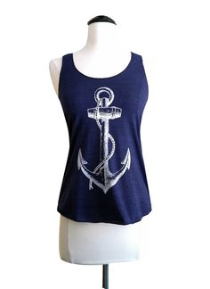 Anchor Tank Top - Nautical Sailor American Apparel Tri-Blend Tank - Available in sizes S, M, L on Etsy, $18.00