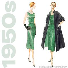 Sewing pattern to make a fitted sleeveless dress with reversible flared coat. Love the 1950s? Find more 50s vintage reproductions and original 50s vintage here. Condition This is a contemporary reprod
