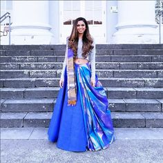 How about reusing an old saree from your mums closet and wearing it as a lehenga dupatta? it is affordable, chic and looks super stylish. Lehenga Saree Design, Lehenga Dupatta, Lehnga Dress, Lehenga Designs, Blue Lehenga, Gown, Half Saree Designs, Silk Saree Blouse Designs, Saree Wearing Styles