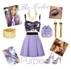 """""""The Color Purple"""" by im-love-with-the-cocoa-channel on Polyvore featuring FAUSTO PUGLISI, Magdalena, River Island, Chloé, BCBGMAXAZRIA, Sergio Rossi, Moschino, gold, purple and purplehair"""