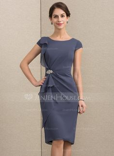 best=Sheath Column Scoop Neck Knee Length Chiffon Mother of the Bride Dress With Beading Cascading Ruffles 008164084 Coral Dresses UK Mother Of Groom Dresses, Mothers Dresses, Mother Of The Bride, Vestidos Fashion, Fashion Dresses, Dress Outfits, Event Dresses, Formal Dresses, Bride Dresses