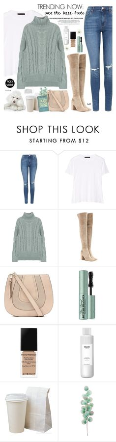 """""""Your Signature Power Look / Gianvito Rossi Rolling 85 Suede Over-the-Knee Boots"""" by palmtreesandpompoms ❤ liked on Polyvore featuring Topshop, The Row, Gianvito Rossi, Witchery, Too Faced Cosmetics, Givenchy, Ouai, Pier 1 Imports and powerlook"""