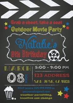 MOVIE PARTY outdoor movie invitation by SLDESIGNTEAM on Etsy, $18.00
