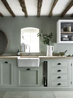 Most Awesome Sage Kitchen Cabinet Design Ideas - Awesome Indoor & Outdoor Kitchen Cabinet Colors, New Kitchen Cabinets, Painting Kitchen Cabinets, Kitchen Paint, Kitchen Colors, White Cabinets, Shaker Cabinets, Green Cabinets, Kitchen Wood