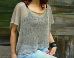 Taupe Linen Poncho, Translucent Top, Handknitted Poncho, Lightweight Flax Top, Linen Loose Top, Romantic Knit Top, Gift For Her, Lace Vest