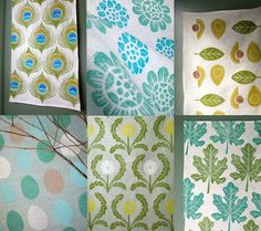 Blue and Green Linen Tea Towel Collection of 6 by giardino on Etsy, $96.00