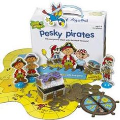 Arr Matey, are ye' ready to collect some treasure? Pesky Pirates will have you moving all around the island on the board collecting gold coins for your treasure chest. He who has the most coins at the end of the game wins! For 2-4 players. Ages 3+.