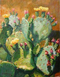 Canvas Print Plein Air Impressionsist Oil Painting of Flowering Prickly Pear Cactus. $125.99, via Etsy.