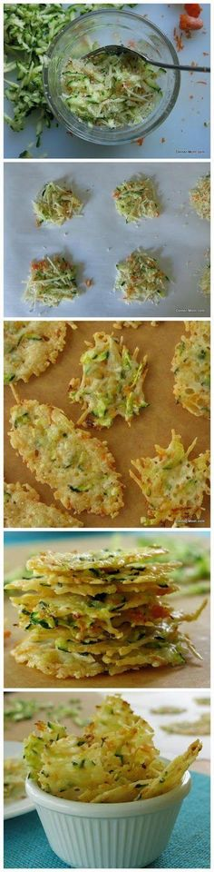 Wouldn't these be great with a big bowl of soup?! Low Carb  Parmesan Cheese Crisps with Zucchini #lowcarb #appetizer