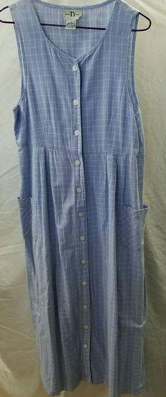 Original Ty Wear Blue Button down jumper Women's  Dress Size 8 100% Cotton #OriginalTyWear #jumper