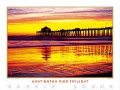 HUNTINGTON PIER TWILIGHT Surfing Poster - Huntington Beach, California, at Sunset ~available at www.sportsposterwarehouse.com