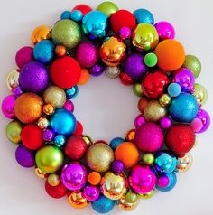 Colorful Christmas wreath. lots & lots of rainbow colored ornaments!