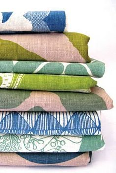 pink, blue and green colour palette printed on linen