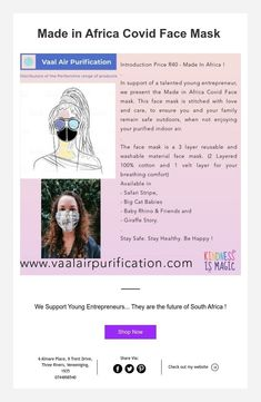 Made in Africa Covid Face Masks Young Entrepreneurs, Air Purifier, Face Masks, South Africa, Future, How To Make, Future Tense, Facials